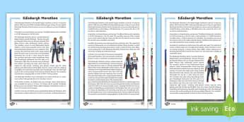Edinburgh Marathon Differentiated Fact File - CfE Edinburgh Marathon (27th of May), reading comprehension, fact file, topic, event, information, r