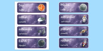 Space Topic Word Cards Romanian Translation - romanian, space, astronaut, planets, word cards, cards, flashcards, rocekt, space ship, alien, moon
