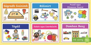 Aistear Play Stations Display Posters Gaeilge - Ireland, ROI, Aistear, early childhood curriculum, play, play stations, display cards, display posters, learning areas, ,Irish