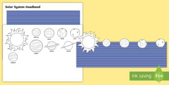 Solar System Role Play Headbands - space, solar system, outer space, galaxy, headbands, role play headbands, solar system order, planet