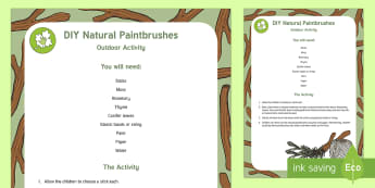 DIY Natural Paintbrushes Outdoor Activity - EYFS Parks and Gardens, playgrounds, forest school, outdoor learning, outdoor classroom, outside, wo