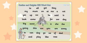Castles and Knights Themed Foundation Stage 2 Word Mat - FS2, mat