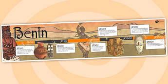Benin Timeline - timeline, banner, benin, ks2, history, africa