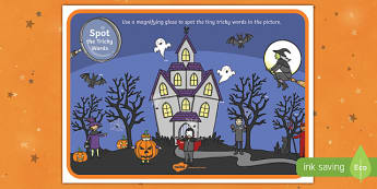 Halloween Themed Phase 3 Tricky Words Magnifying Glass Activity