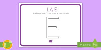 Ficha de lecto: Las vocales - La E - Vocales, Letras, Sonidos, Lectoescritura, Pre-Escritura, Lectura, Pre-Lectura, trazo