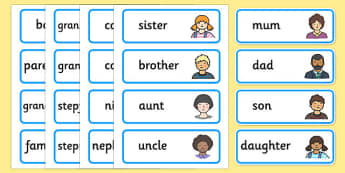 Family Members Flashcards - my family, word cards, word, cards, family