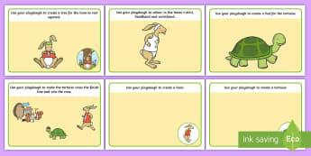 The Tortoise and The Hare Playdough Mats - fine motor skills