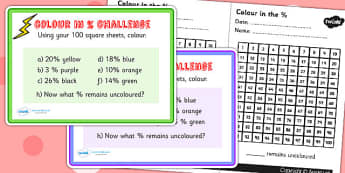 Colour in the Percentage Maths Challenge Cards and 100 Square
