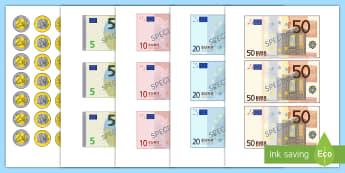 Euroscheine und Centmünzen zum Ausschneiden - Geld, Euros, Cent, Spielgeld, Rechnen, Rechenhilfe,,German