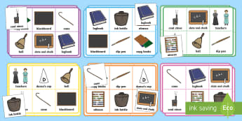 KS1 Schools in the Past Bingo and Lotto Game - Old, Group Activity, Reading, History, Now and Then