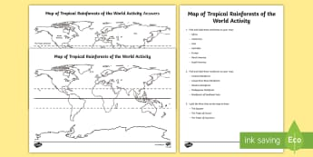 Tropical Rainforests World Map Worksheet / Activity Sheets - Tropical Rainforests World Map - tropical rainforest, rainforests, world, worldwide, world map, fore