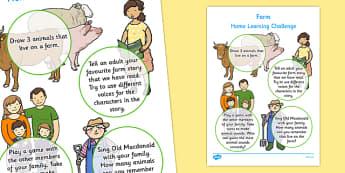 Farm Home Learning Challenge Sheet Nursery FS1 - eyfs, farm, home learning, challenge, sheet, nursery