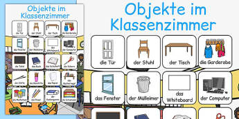 Objekte im Klassenzimmer Vocabulary Poster German - german, classroom objects, classroom, objects, vocabulary, poster, display