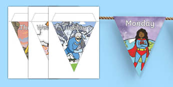 Superheroes Themed Days of the Week Bunting - superhero, days of the week, bunting, days of the week on bunting, superhero bunting