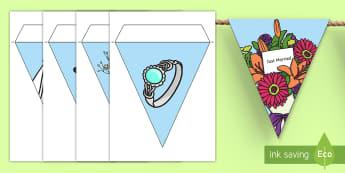 Display Bunting (Wedding) - Bunting, display bunting, classroom bunting, decorative bunting, wedding, marriage, bride, groom, church, priest, vicar, dress, cake, ring, rings, bridesmaid, flowers, bouquet, reception, love