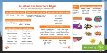 All About Me Superhero Glyph Activity Sheet - New Zealand, Back to School, glyph, Superhero, All about me, hero, favourite, new class, new term, n