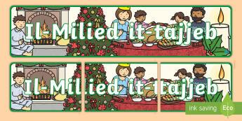 Happy Christmas Display Banner (Maltese) - display, banner, poster, sign, happy chistmas banner, christmas banner, maltese, maltese happy christmas banner, happy christmas banner in maltese, maltese resources, classroom display, themed banner,