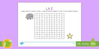 Ficha de actividad: Laberinto de la letra E - Vocales, Letras, Sonidos, Lectoescritura, Pre-Escritura, Lectura, Pre-Lectura