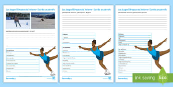 Winter Olympics Structured Writing Differentiated Activity Sheets Spanish - sports, free, time, develop, ideas, paragraph, creative, writing