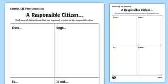 Scottish Curriculum for Excellence Four Capacities Responsible Citizens Worksheet / Activity Sheet-Scottish, worksheet