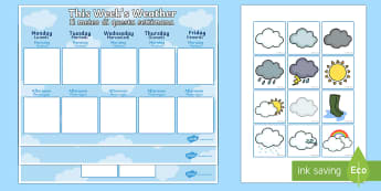 Weekly Weather Recording Chart English/Italian - weather, weather calendar, weekly weather calendar, weakly weather chart, weekly weather display, th