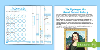 KS1 The Mystery at the Grand Portrait Gallery Maths Game - fractions, calculations, counting on and back in multiples, counting across 100, arrays
