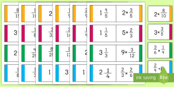 Multiplication and Division with Fractions and Whole Numbers Loop Cards - math, loop cards. multiplication, division, whole numbers, game