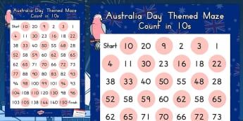 Australia Day Counting in 10s Maze Worksheet - worksheets, count