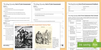 The Qing Dynasty Differentiated Assessment Pack - Qing, Sources, Manchu, Invasion, Ming, Opium, Puyi, mark scheme, question papers, feedback