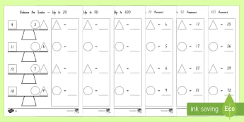 Balance the Scales Differentiated Worksheet / Activity Sheets - New Zealand, maths, addition to 20, Years 1-3, scales, balance the scales, adding, Worksheets