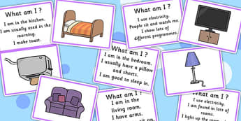 What Am I? Guessing Game Cards Household Objects - visual aid