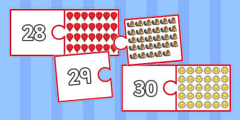 Number and Picture Matching Jigsaw to 30 - game, activity, fun, maths, numeracy, adding, combining, counting, visual aid, ks1, key stage 1, early years