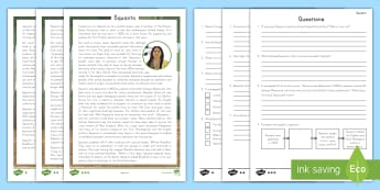 Squanto Reading Comprehension Activity - Squanto, Indigenous Peoples Day, native Americans, First Nations, First Cultures