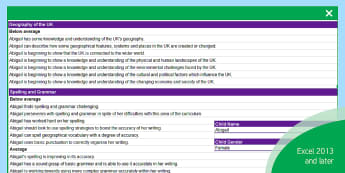 GCSE Geography Report Statements Differentiated Spreadsheet - Geography, KS4, KS3, Report statements,
