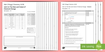 AQA Chemistry (Trilogy) Unit 4.6 The Extent and Rate of Chemical Change Test - KS4 Assessment, Test, rate of reaction, rates of reaction, temperature, concentration, factors, pres