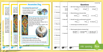 KS1 Ascension Day Differentiated Reading Comprehension Activity - KS1, Key Stage One, Year 1, Year 2, Year One, Year Two, Ascension day, (25.5.17), Jesus, Easter, Goo