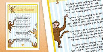 5 Little Monkeys Jumping on the Bed Nursery Rhyme Large Display Poster - poster, display