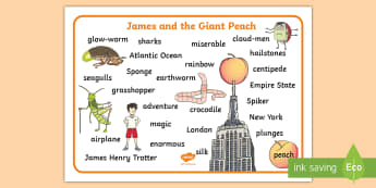 Word Mat to Support Teaching on James and the Giant Peach - word mat, james and the giant peach, giant peach word mat, word, mat, story book, topic words, key words, word list