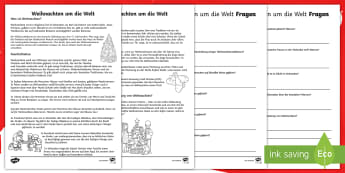 Weihnachten um die Welt Leseverstehen Arbeitsblätter - Weihnachtlich, Advent, Dezember, Lesen, Leseverständnis,,German
