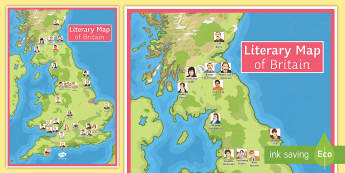 Literary Map of Britain A2 Display Poster - UK, map, authors, places, Great Britain, display.