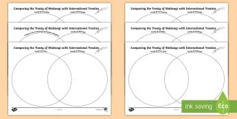 Comparing the Treaty of Waitangi to Other Treaties Activity Sheets - Waitangi Day, Waitangi, Treaty of Waitangi, Treaty, Aotearoa, New Zealand, worksheets