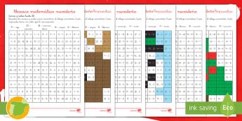 Ficha de actividad de atención a la diversidad: Mosaico matemático - La Navidad -Spanish - Navidad, adición , sustracción, sumar, restar, colorear con números, sumas, restas, colores, acti