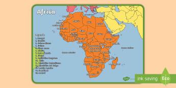 I continenti del mondo Africa Poster - geografia, mappa, continenti, nazioni, italiano, italian, materiale, scolastico