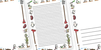 Page Borders to Support Teaching on Jasper's Beanstalk - Jasper, Jasper's Beanstalk, bean, sprayed, page border, border, writing template, writing aid, writing, watered, slugs, rake, found, beanstalk, planted, cat, dig, plant, waiting, story book, st