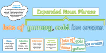 Expanded Noun Phrases Display Pack - expanded noun phrases, noun phrases, nouns, phrases, Y2, Year 2, Y4, Year 4, Learn how to use expand