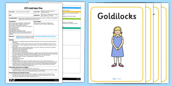 Goldilocks and the Three Bears Movement Activity EYFS Adult Input Plan and Resource Pack