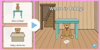 Teddy Prepositions PowerPoint - UAE, ADEC, MOE, preposition, teddy, prepositions, in, on, at, under, between, English, Arabic,