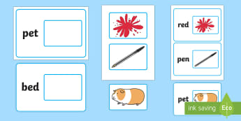 Workstation Pack:  Picture to CVC (e) Word Matching Activity Pack