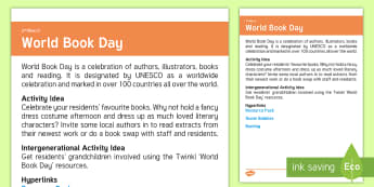 World Book Day Adult Guidance - Calendar Planning March 2017, Activities, World Book Day, Elderly Care, Care Homes, Planning, Suppor