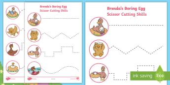 Brenda's Boring Egg Cutting Skills Activity Sheet - Twinkl Originals, Fiction, scissors, fine motor, skills, ugly duckling, easter